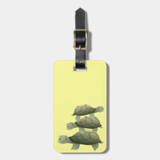 Cute Three Tutles Stacked Terrapin Luggage Tag