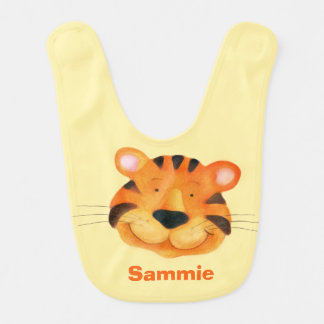 Cute tiger art add your name Baby bib