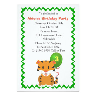 Cute Tiger Birthday Party Invitation for Boy