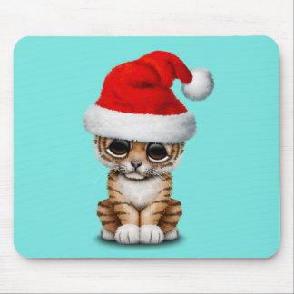 Cute Tiger Cub Wearing a Santa Hat Mouse Mat