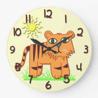Cute Tiger Kid's Round Wall Clock