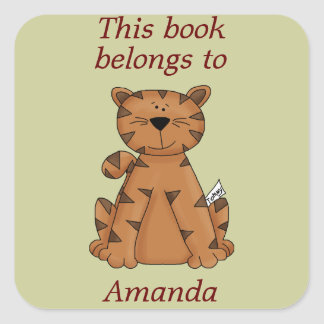 Cute Tiger This Book Belongs To Book Plate Sticker