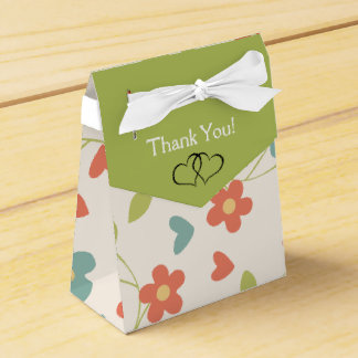 Cute Tiny Floral & Lime Green Hearts Thank-You Wedding Favour Box