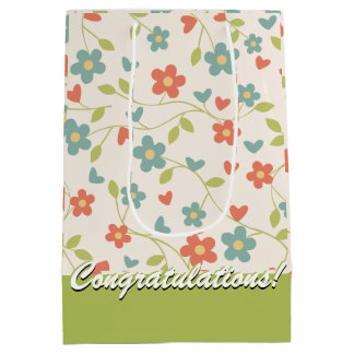 Cute Tiny Flowers White Green Blue Red Floral Medium Gift Bag