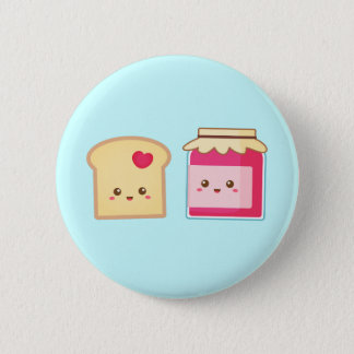 Cute Toast and Strawberry Jam, Spread Love 6 Cm Round Badge