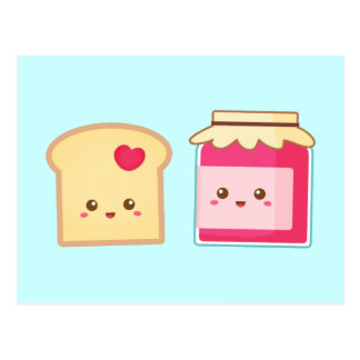 Cute Toast and Strawberry Jam, Spread the Love Postcard