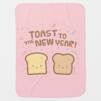 Cute Toast to the New Year Pun Humor Confetti Buggy Blankets