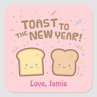 Cute Toast to the New Year Pun Humor Confetti Square Sticker