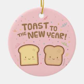 Cute Toast to the New Year Pun Room Decor Christmas Ornament