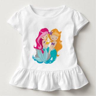 Cute toddler girls mermaid friends beach t-shirt
