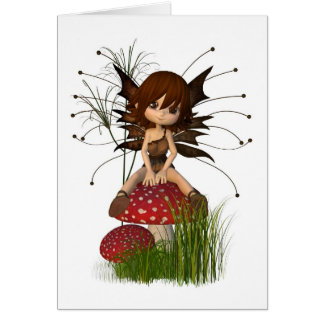 Cute Toon Autumn Fairy and Toadstool Card