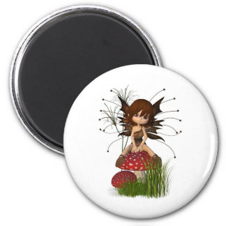 Cute Toon Autumn Fairy and Toadstool 6 Cm Round Magnet