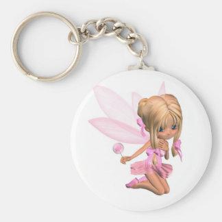 Cute Toon Ballerina Fairy in Pink - kneeling Basic Round Button Key Ring