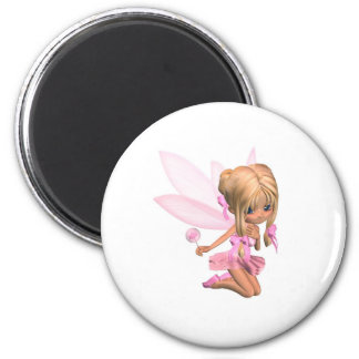 Cute Toon Ballerina Fairy in Pink - kneeling Magnet
