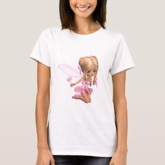 Cute Toon Ballerina Fairy in Pink - kneeling T-Shirt