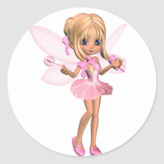 Cute Toon Ballerina Fairy in Pink - standing Classic Round Sticker