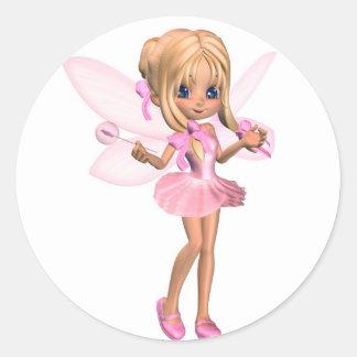 Cute Toon Ballerina Fairy in Pink - standing Classic Round Sticker