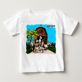 Cute Toon Barnyard with Animals Shirt for Kids