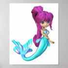 Cute Toon Bright Blue Mermaid Poster