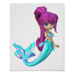 Cute Toon Bright Blue Mermaid Poster