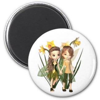 Cute Toon Daffodil Fairy Boy and Girl 6 Cm Round Magnet