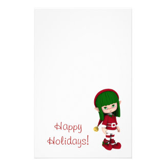 Cute Toon Elf Holiday Stationery