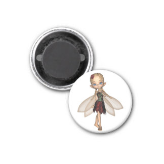 Cute Toon Fairy in Green and Red Flower Dress Magnet