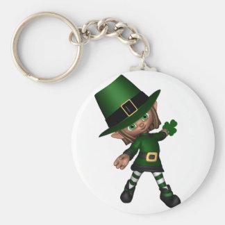 Cute Toon Irish Leprechaun - 2 Basic Round Button Key Ring