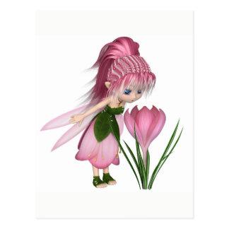 Cute Toon Pink Crocus Fairy, Standing by a Flower Postcard