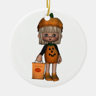 Cute Toon Trick-or-Treater Christmas Ornament