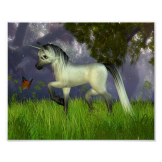 Cute Toon Unicorn with Woodland Background Poster