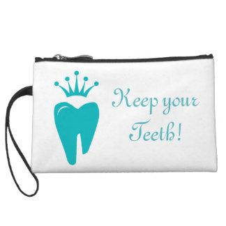 Cute Tooth Crown Logo Blue Clutch Bag Wristlet Clutch