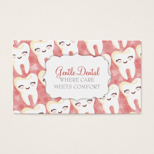 Cute Tooth Pattern - Pink Custom Business Cards