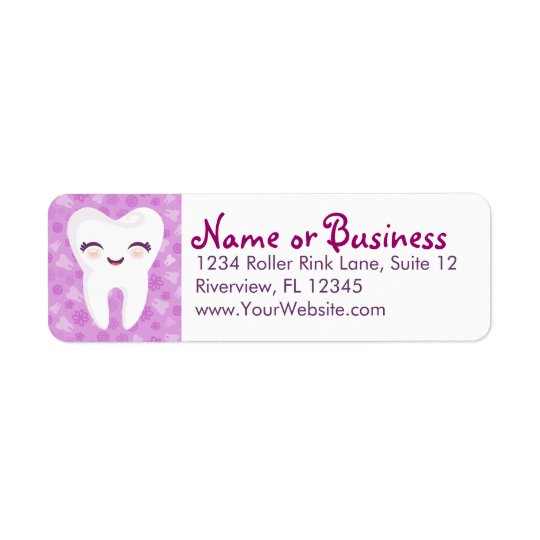 Cute Tooth - Purple - Custom Return Address Labels