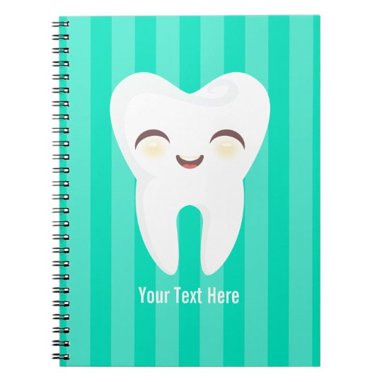 Cute Tooth - Teal Stripes Custom Notebook