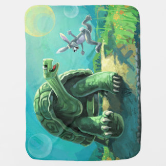 Cute Tortoise and the Hare Art Baby Blanket