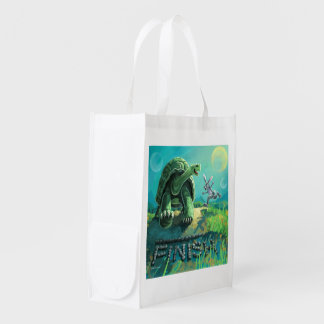 Cute Tortoise and the Hare Art Reusable Grocery Bag