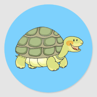 Cute tortoise classic round sticker