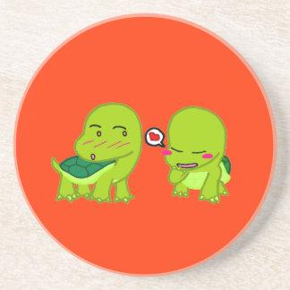 cute Tortoises in love Drink Coaster