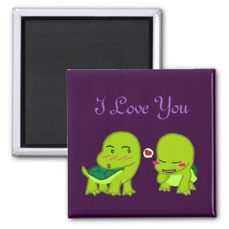 cute Tortoises in love Square Magnet