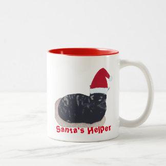 Cute Tortoiseshell Cat Santa Helper Mugs