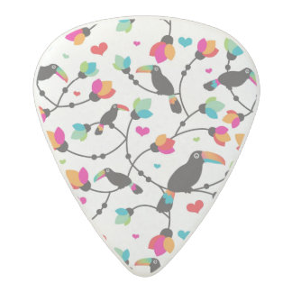 cute toucan bird tropical illustration acetal guitar pick
