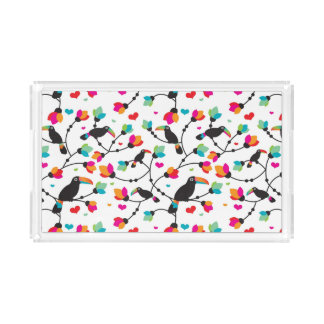 cute toucan bird tropical illustration acrylic tray