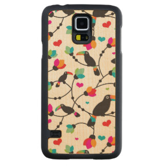 cute toucan bird tropical illustration carved maple galaxy s5 case