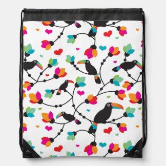 cute toucan bird tropical illustration drawstring bag