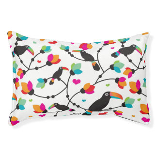 cute toucan bird tropical illustration pet bed
