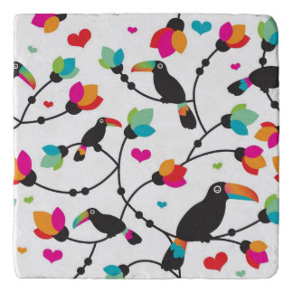 cute toucan bird tropical illustration trivet