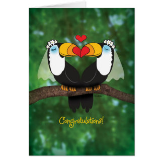 Cute Toucan Lesbian Wedding Congratulations Card