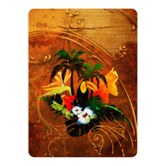 Cute toucan with flowers 14 cm x 19 cm invitation card
