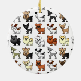 Cute Toy Dog Breed Pattern Christmas Ornament